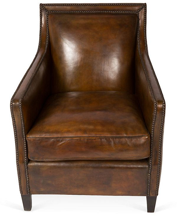 One Kings Lane - This Week's Vintage Mix - Boston Leather Armchair