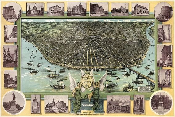 ⚓ Stylish vintage map of St. Louis, Missouri, originally published in 1896.  ⚓ Large panoramic birds eye view. Includes vignette with 2 female
