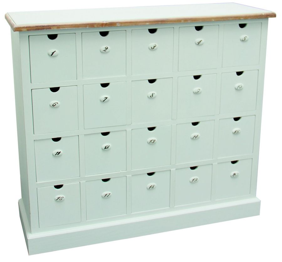 eur 599 20 drawers apotheker kommode wei e landhaus kommode 20 schubladen durchnummeriert. Black Bedroom Furniture Sets. Home Design Ideas