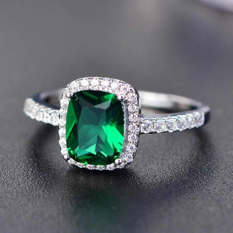 925 Sterling Silver Ring Natural Blue Topaz Emerald Cut Size 5-11