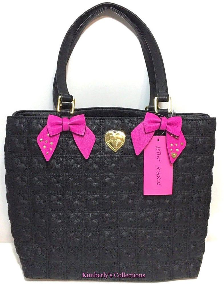 a2d01eed2403 Betsey Johnson Handbag Tote Quilted Hearts Black Fuchsia Pink Bows Purse  NWT
