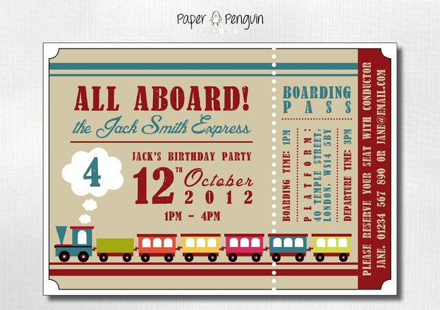 Personalised kids train ticket birthday party invitations personalised kids train ticket birthday party invitations printable digital filmwisefo