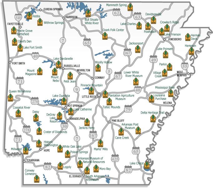 Arkansas State Parks Map Did you know that Arkansas has 52 state parks? This handy park