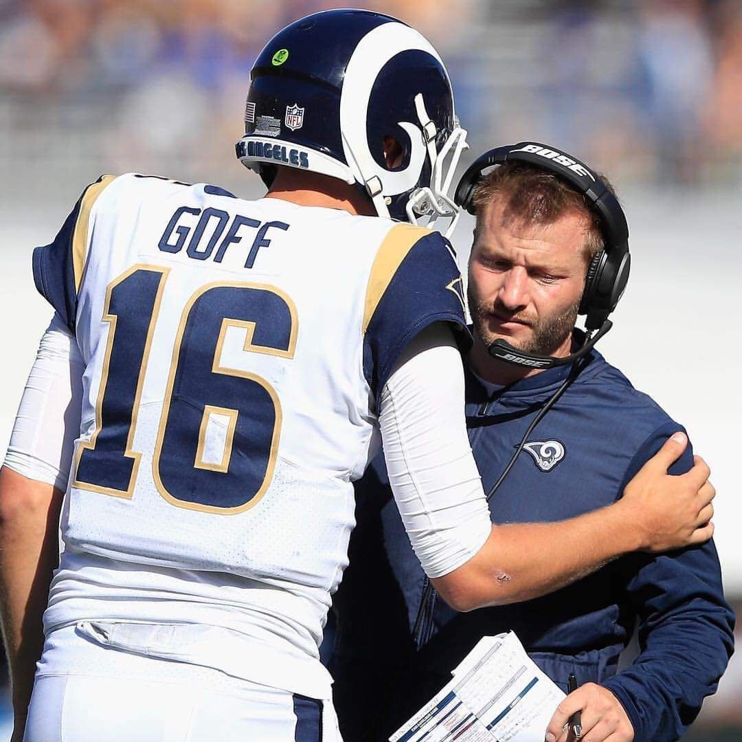 La Rams Qb 16 Jared Goff Head Coach Sean Mcvay Rams Football American Football League Football Conference