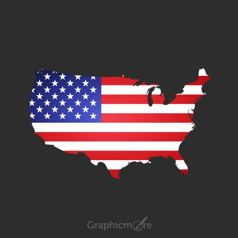 USA Map in Flag Color Design Free Vector File ...