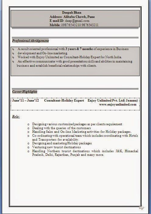 cv profile Sample Template Example ofExcellent Curriculum Vitae - indian resume format for freshers