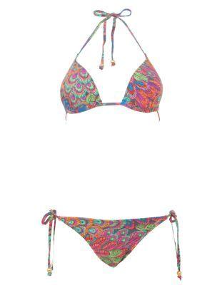 Boutique Multicoloured Feather Print Triangle Tie Bikini - Bikinis - Womens | New Look