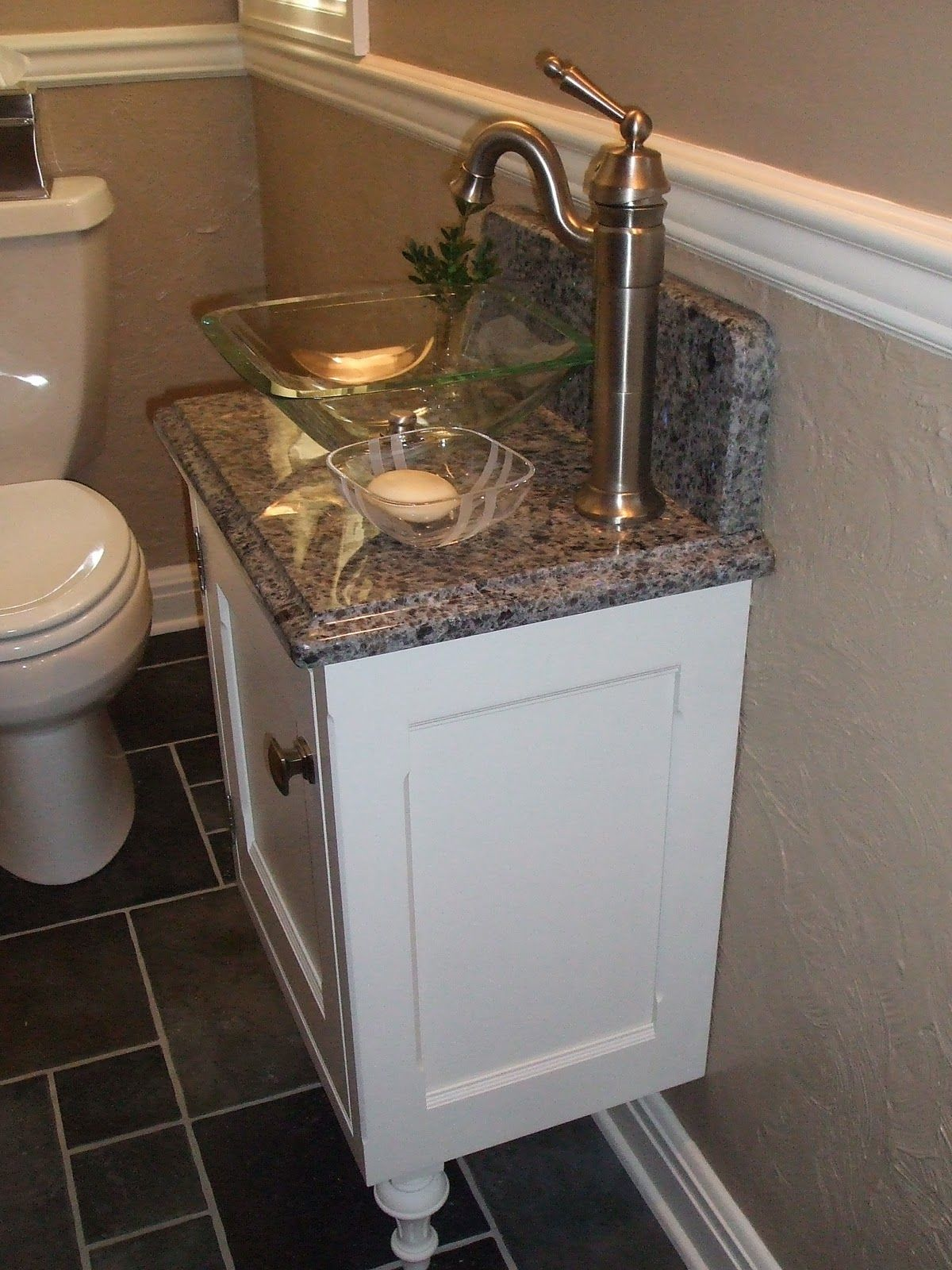 Luxurious White Small Vanity And Glass Bowl Sink On Gray Marble - Bathroom sinks and vanities for small spaces