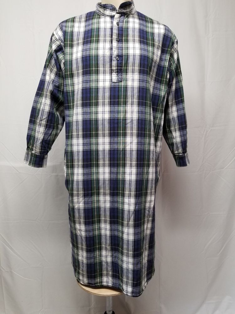 THE VERMONT FLANNEL CO Mens O S Plaid Flannel 100% Cotton Nightshirt White  Blue  TheVermontFlannelCo  Nightshirt e7a3c1db7
