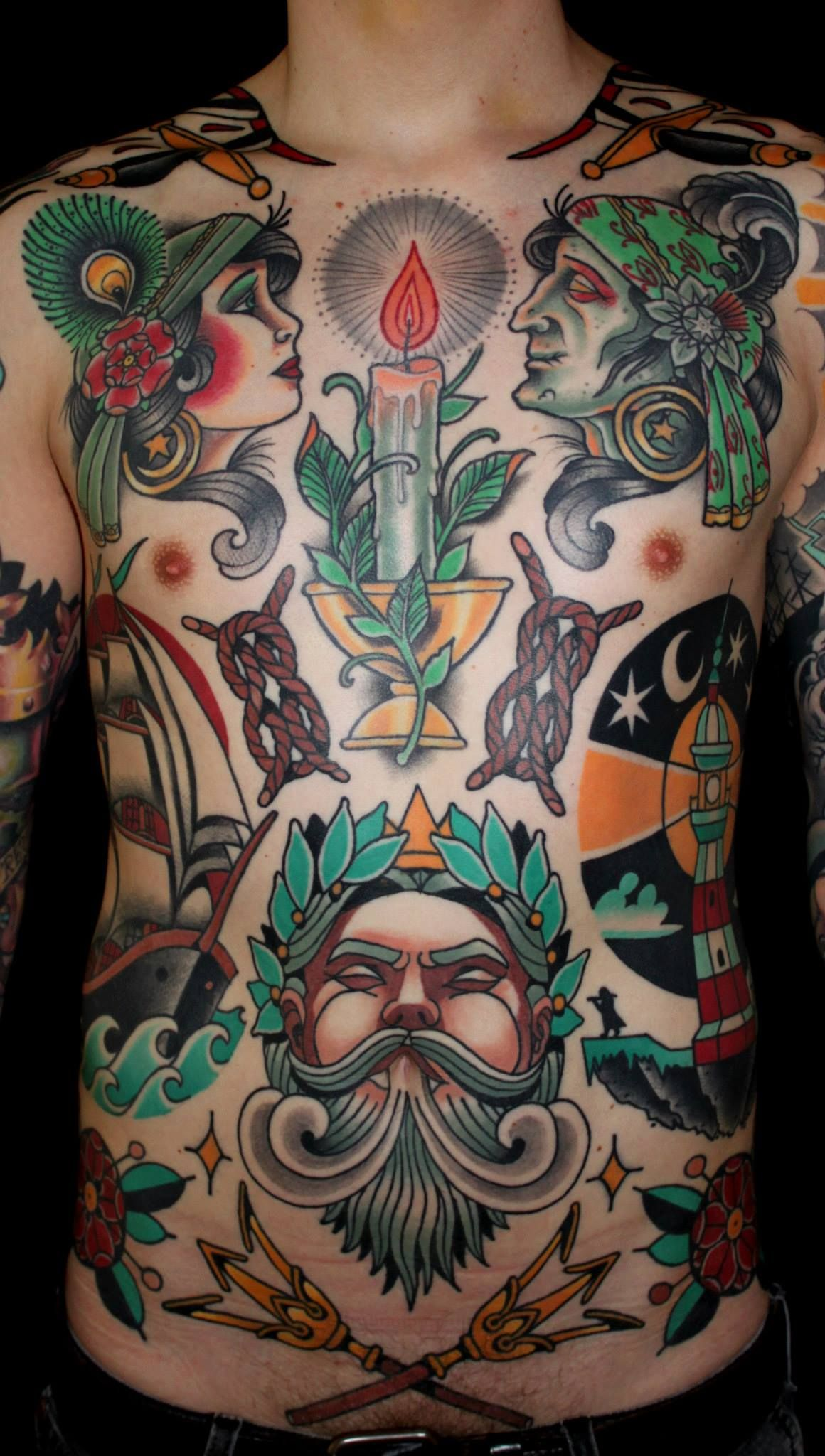 tattoo traditional nautic frontpiece