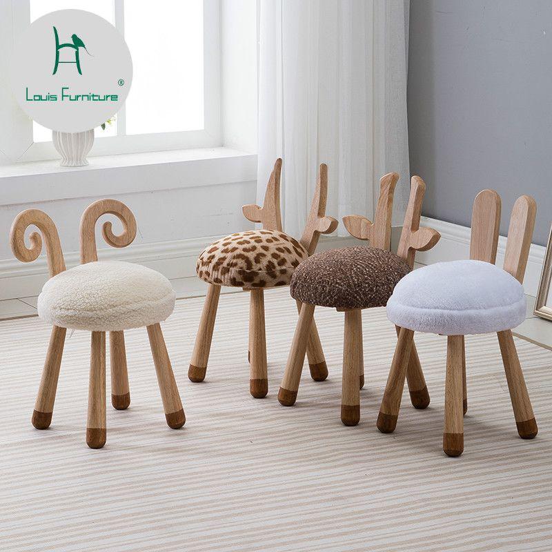 Louis Fashion Children S Stools Modern Nordic Solid Wood Creative