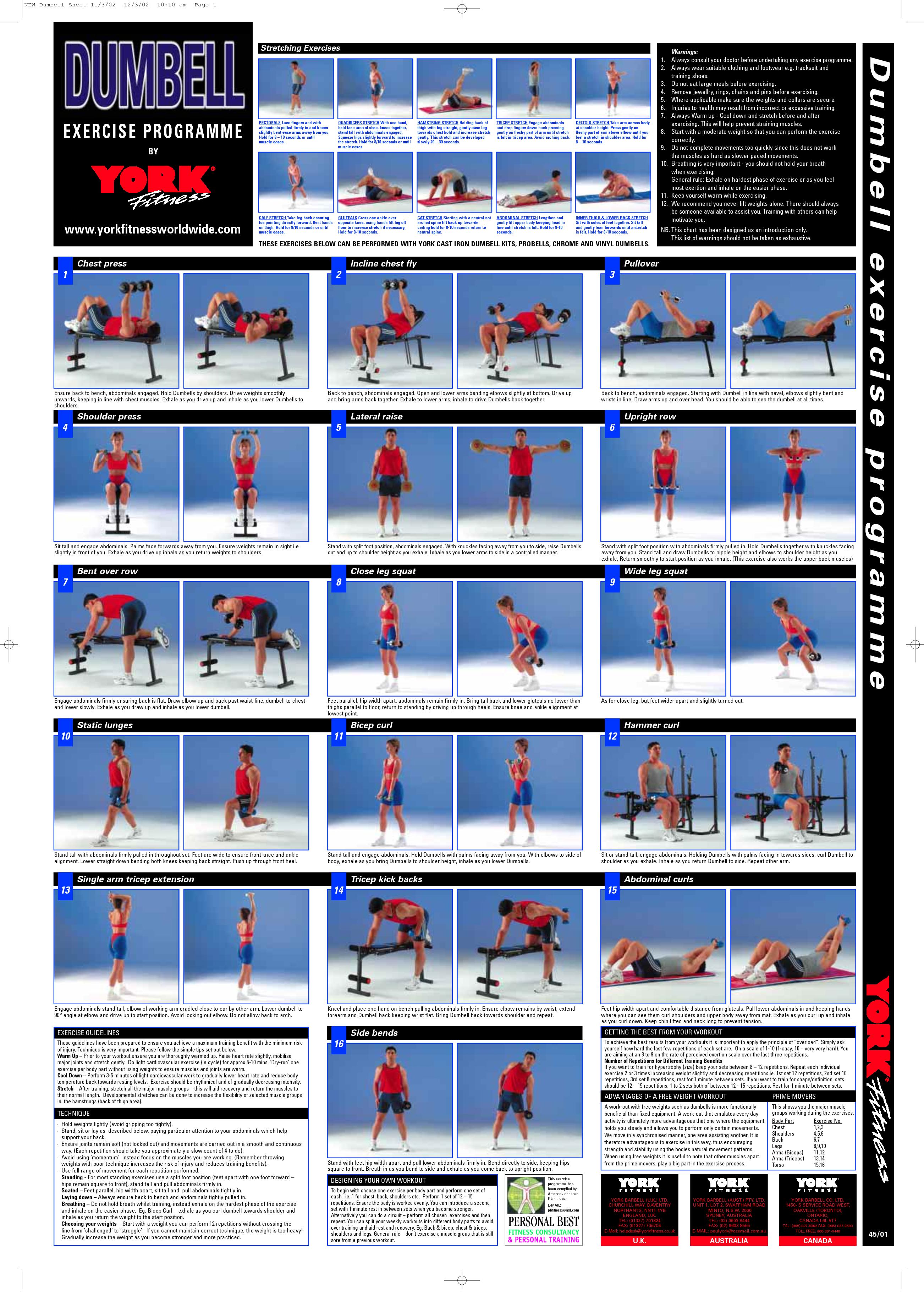 Dumbbell exercise chart pdf also pinterest rh