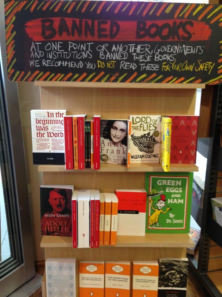 Banned books display. Kaleido books, Australia.