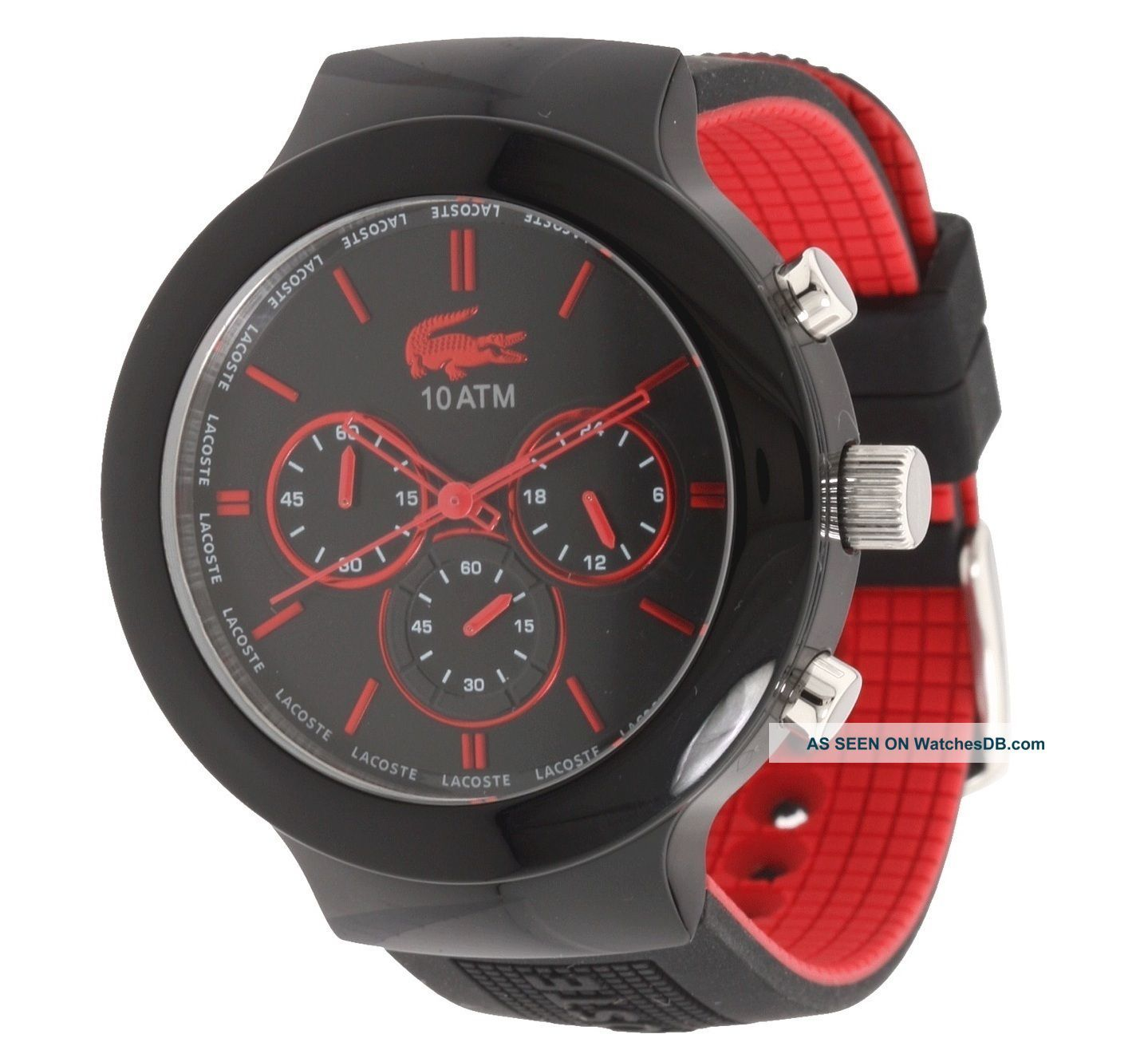 lacoste l ve men chronograph borneo black red silicone strap watch lacoste l ve men chronograph borneo black red silicone strap watch 2010652 photo
