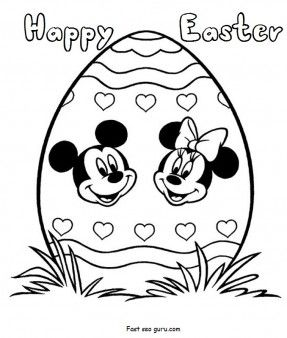 Free Print out disney easter egg coloring pages characters