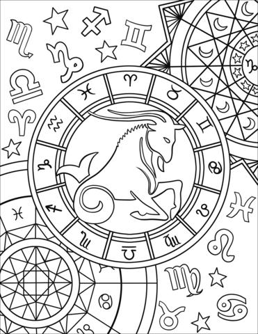 Capricorn Zodiac Sign Coloring Page Capricornio Zodiaco Signos Del Zodiaco Páginas Para Colorear