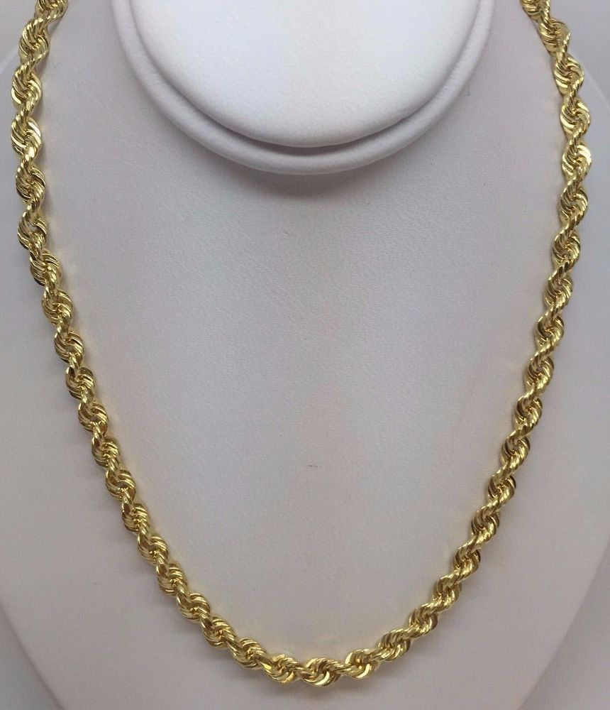 85935adc24b4a 14K YELLOW GOLD SOLID DIAMOND CUT ROPE NECKLACE 22