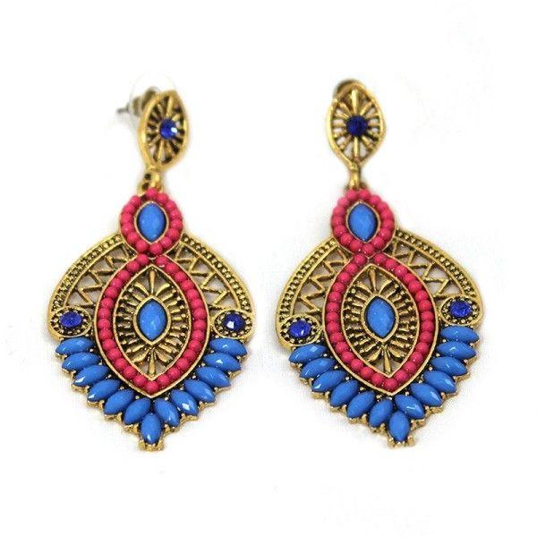Blau-Rot-Boho-Stil-Ohrhaenger-Ohrringe-Farbig-Ethno-Glamondo-Modeschmuck