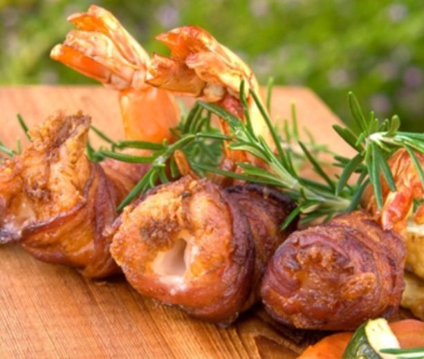 BBQ Bacon-Wrapped Shrimp with Basil Stuffing