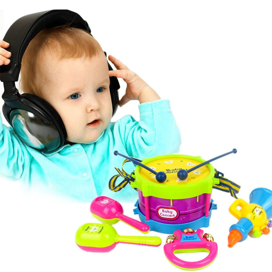 5 pz nuovo bambino rullo di tamburi musical instruments banda kit bambini toys gift set