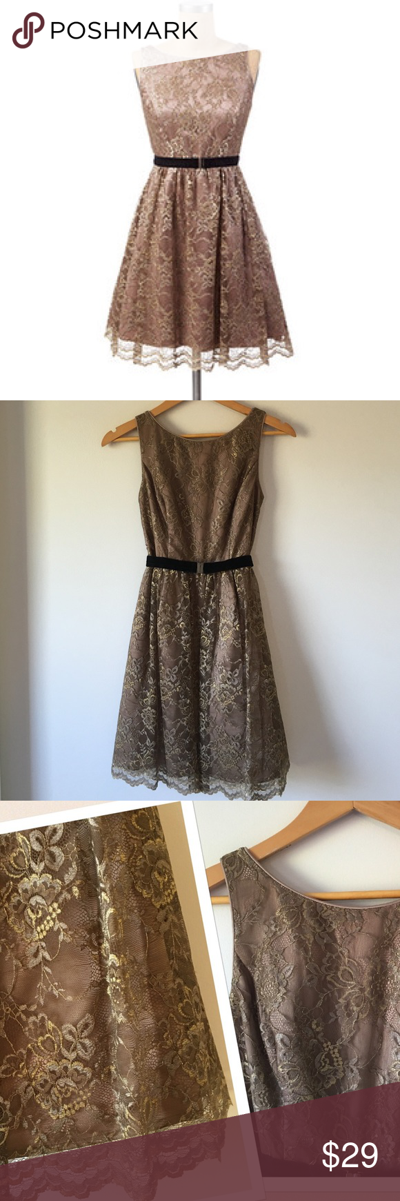 """{Jessica Simpson} Gold Lace Tank Dress Jessica Simpson sleeveless fit and flare lace dress. Color is taupe with gold and taupe lace overlay. High scoop neckline. Deep-V back with zipper and clasp. Black velvet belt. Fully lined with the addition of tulle on the bottom for volume. Bust is 16"""" flat across. Approximately 34"""" shoulder to bottom of hem. Excellent condition. Worn once. (4th photo shows dress in a different color on a model.) Jessica Simpson Dresses"""