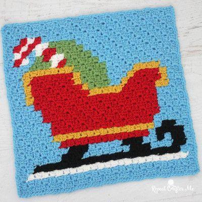 Crochet Sleigh Pixel Square | Afghans | Pinterest | Häkeln