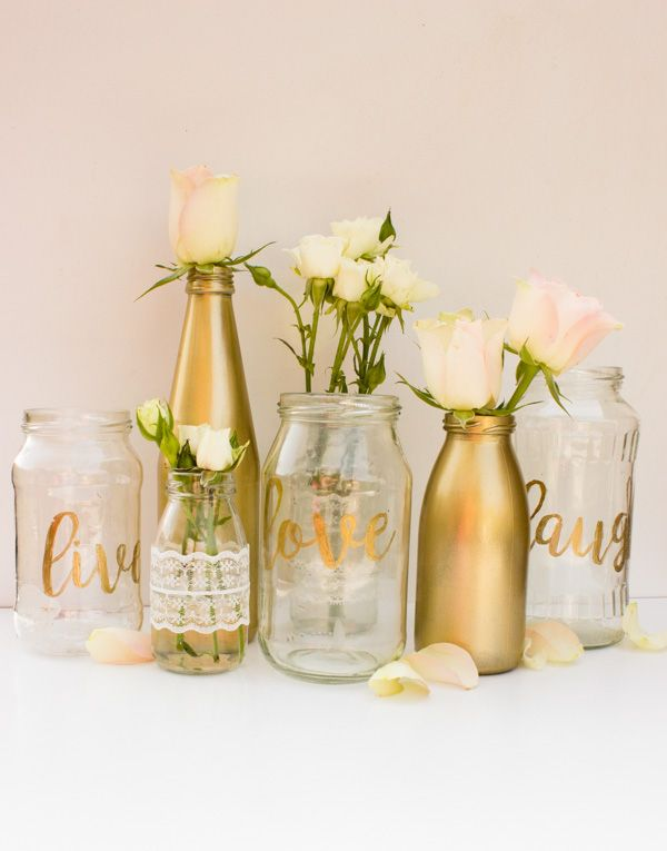 Photo of DIY vases with gold and hand lettering – kitchen wreaths