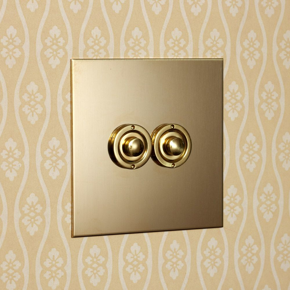 Uk Unlacquered Brass Two Gang Push Button Light Switch Unlacquered Brass Brass Light Switch