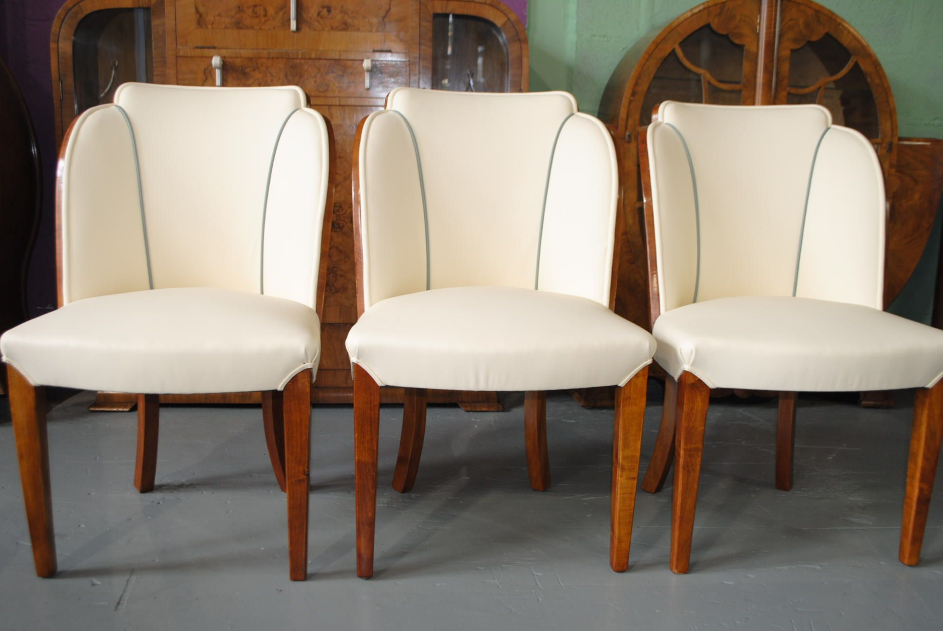 Epstein Dining Table And 6 Cloud Back Chairs In Fiddle Back Maple Intended  For Art Deco Dining Room Furniture