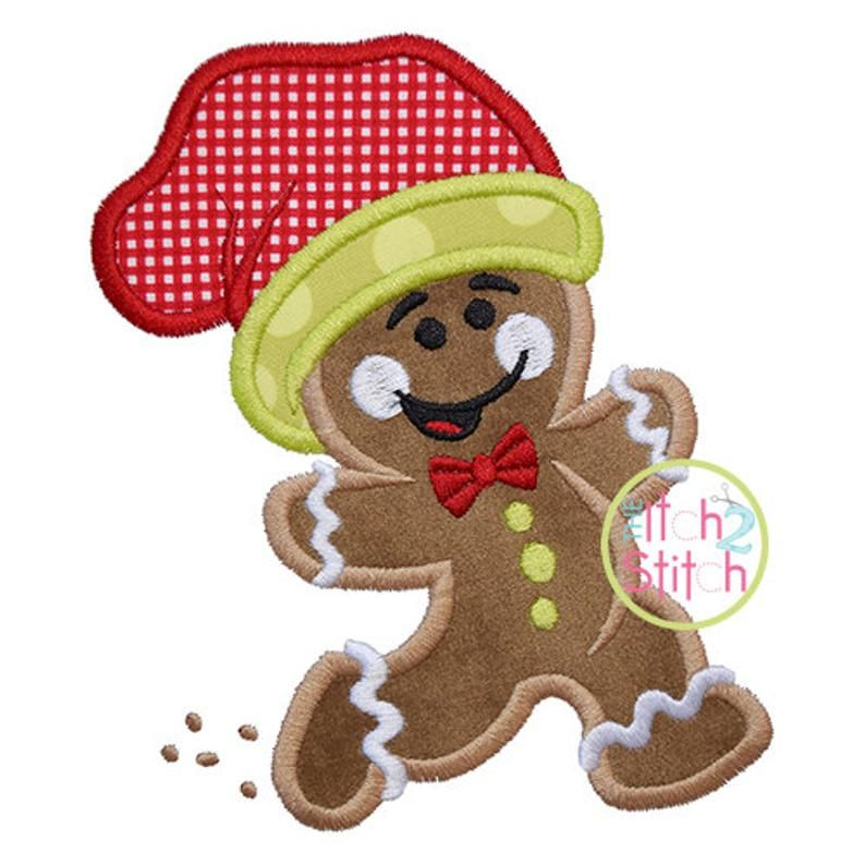 Running Gingerbread Man Applique, 4x4, 5x7, & 6x10, shown ...