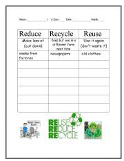 Recycling Worksheet 2 - Reduce, Reuse, Recycle
