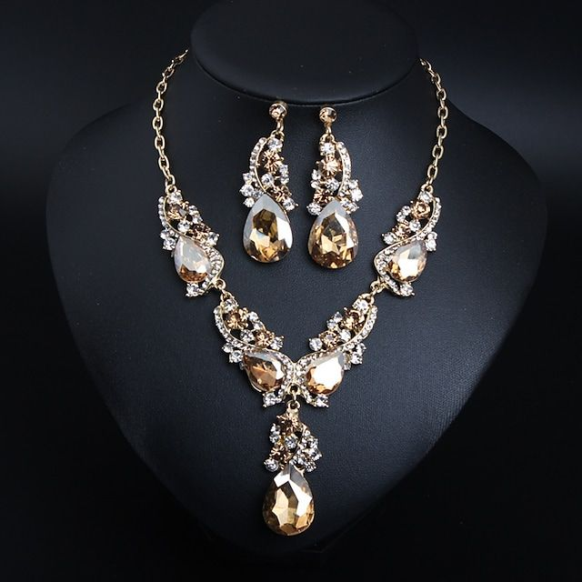 Women's Crystal Bridal Jewelry Sets Briolette Drop Flower Love Statement Elegant Vintage Rhinestone Earrings Jewelry White / Red / Champagne For Wedding Party Engagement 1 set 2021 - US $32.99