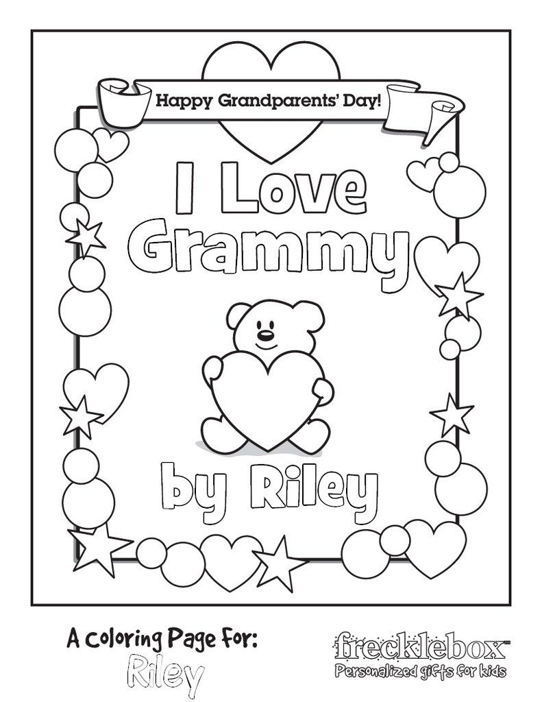 Personalized I Love Grammy Coloring Page Frecklebox Personalized Coloring Book Coloring Pages Free Coloring Pages