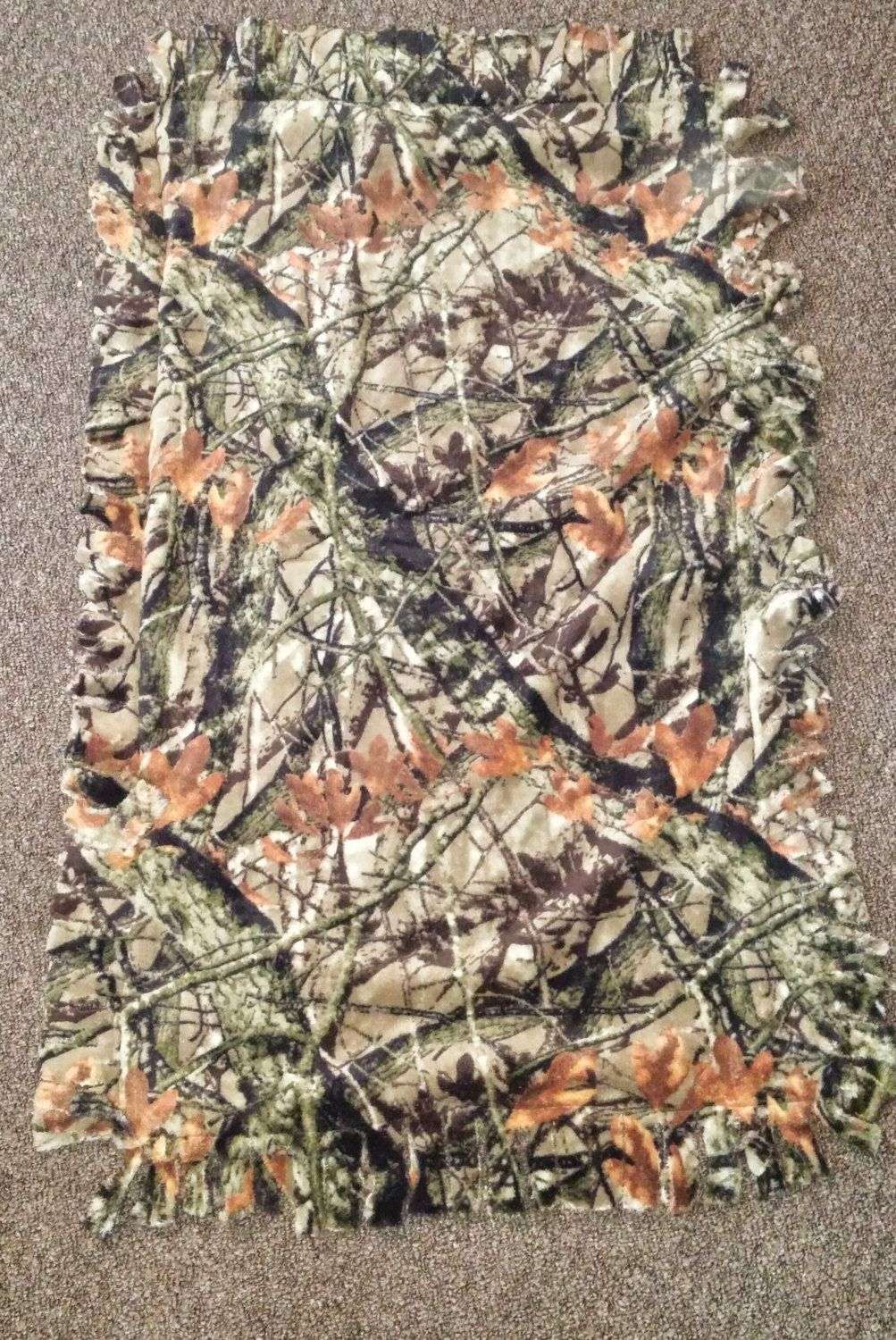 Real tree Camo fleece blanket with cut edges by SimpleGifts2015 on Etsy
