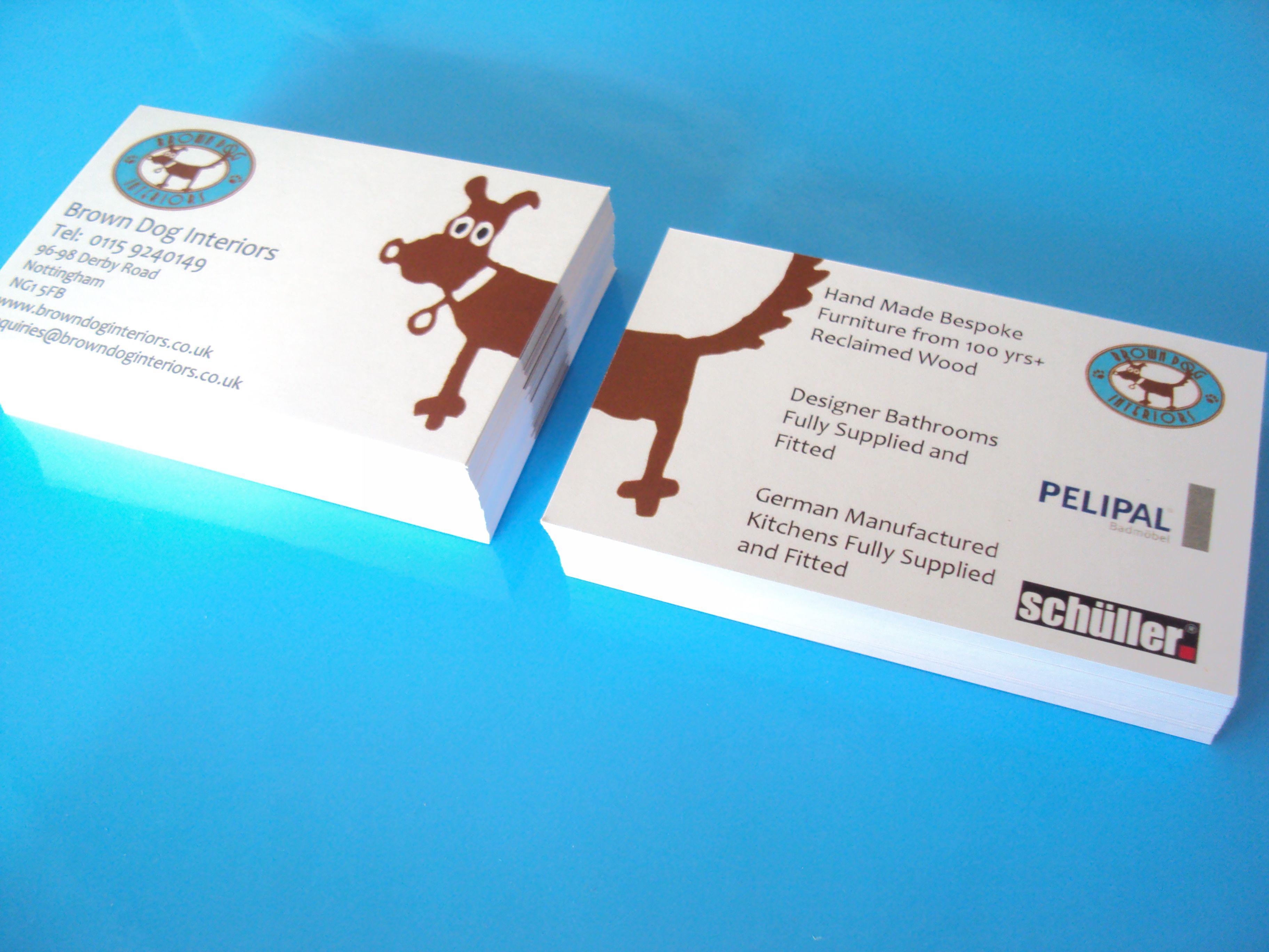 Business Cards For Brown Dog Interiors By Minuteman Press Nottingham Printed 2 Sides On 350 Gsm Matt Card Brown Dog Bespoke Furniture Design