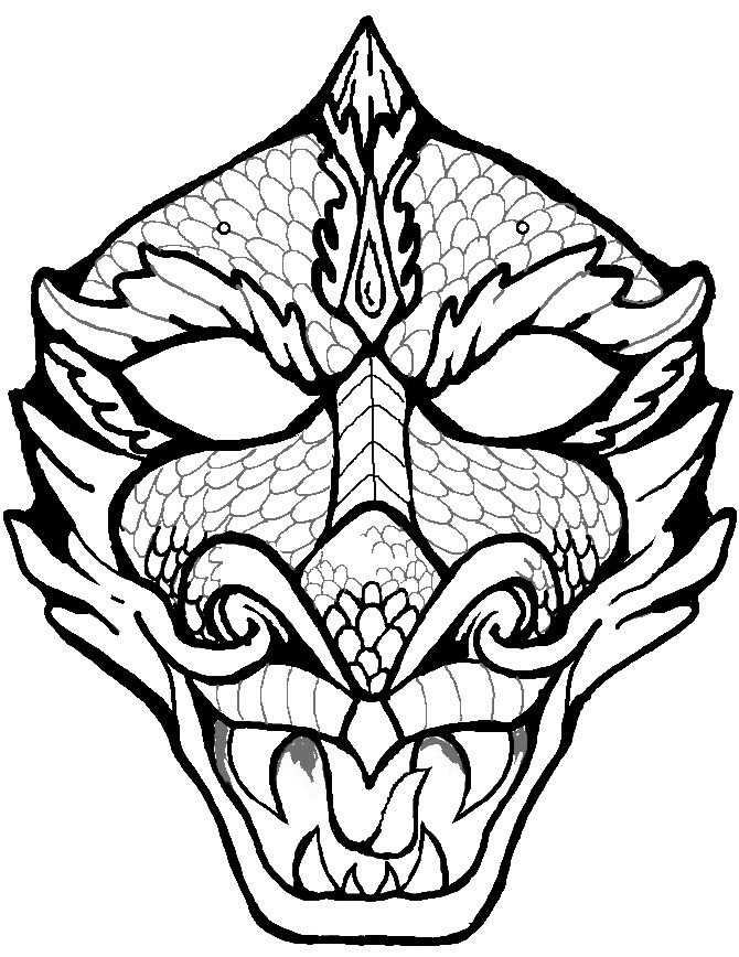 Dragon Face Coloring Page Dragon Face