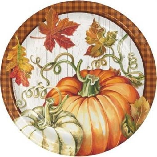 harvest plenty 7 inch paper plates 8 pack fall thanksgiving party decorations