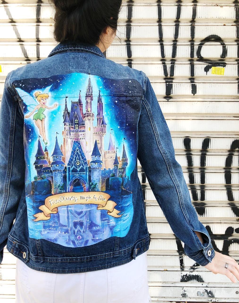 Disney Castle Jacket Painted Clothes Diy Jackets Painted Denim Jacket [ 1280 x 1013 Pixel ]