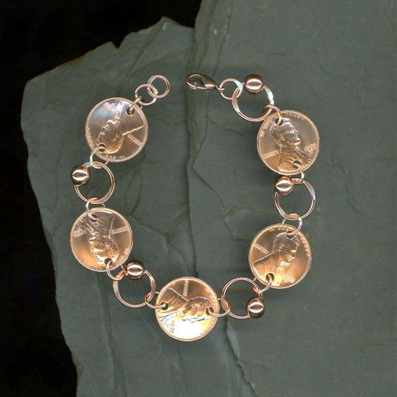 1955 Penny Coin Beaded Bracelet 60th Birthday Gift Jewelry