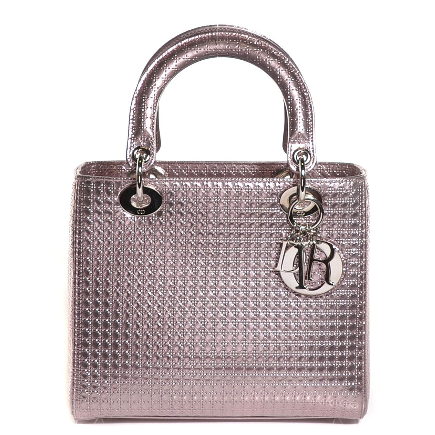 13e76545838 CHRISTIAN DIOR Metallic Perforated Calfskin Micro Cannage Lady Dior Pink