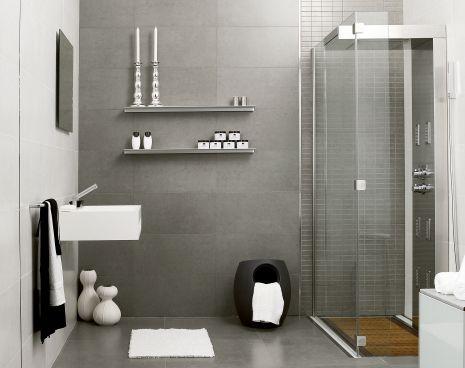 Badrum i ljusgrått och med trä och vitt - 326801 Grå Klinker 32 x ...