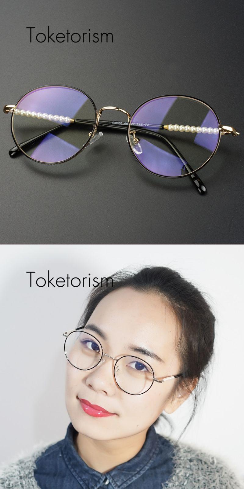 20b91cc3135 Round silver glasses metal frame anti blue rays lenses vintage women eyewear  optical retro pearl eyeglasses