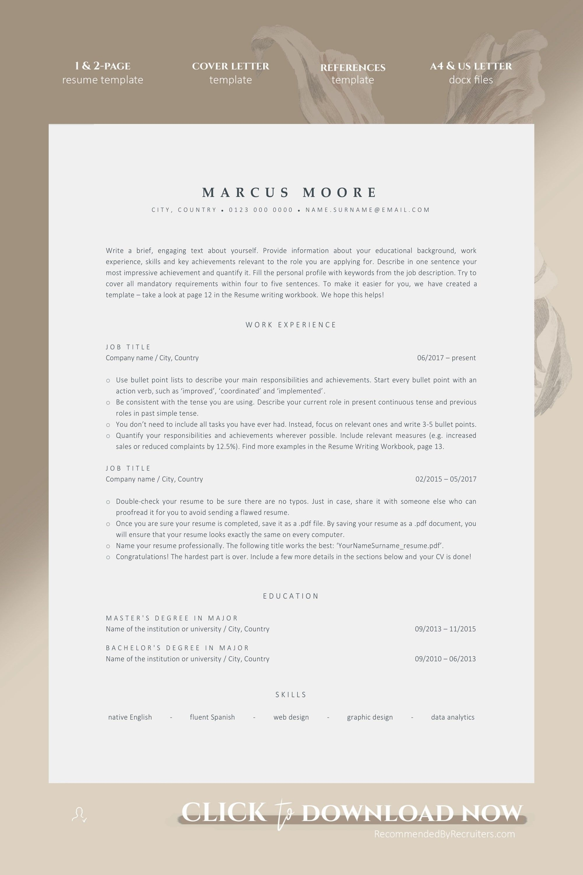 ATS Resume Template for Word, Instant Download 1 and 2