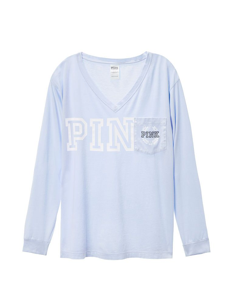 Campus Long Sleeve V-Neck Tee - PINK - Victoria's Secret | Pink ...