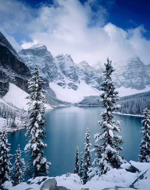 Autumn Snowfall On Moraine Lake Banff National Park Alberta
