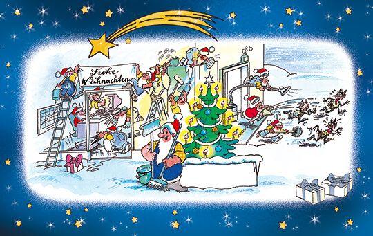 bunte firmenweihnachtskarte f r reinigungsprofis mit weihnachtsgru weihnachtsgr e