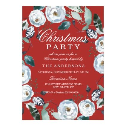 Red Green White Wreath Christmas Party Invitation - christmas cards