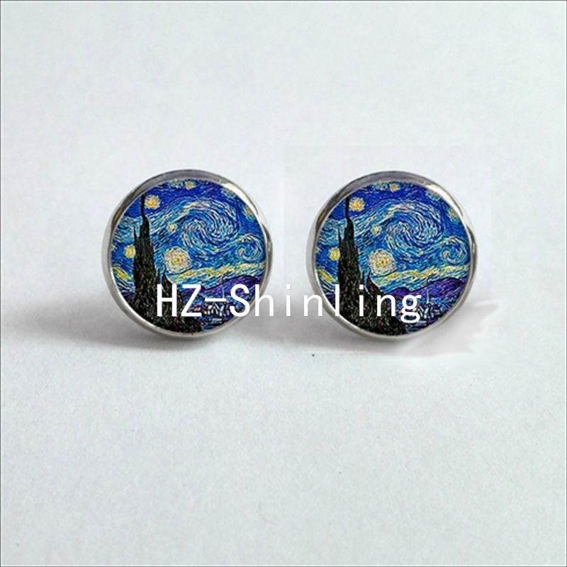 Round Van Gogh Starry Night HD Cufflinks