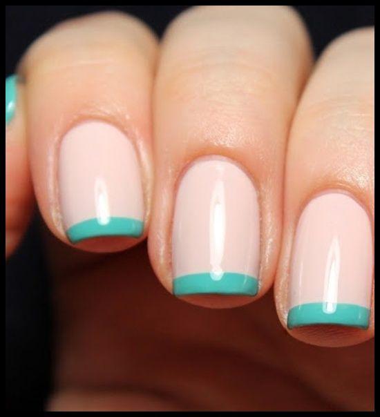 Nude and aqua teal manicure