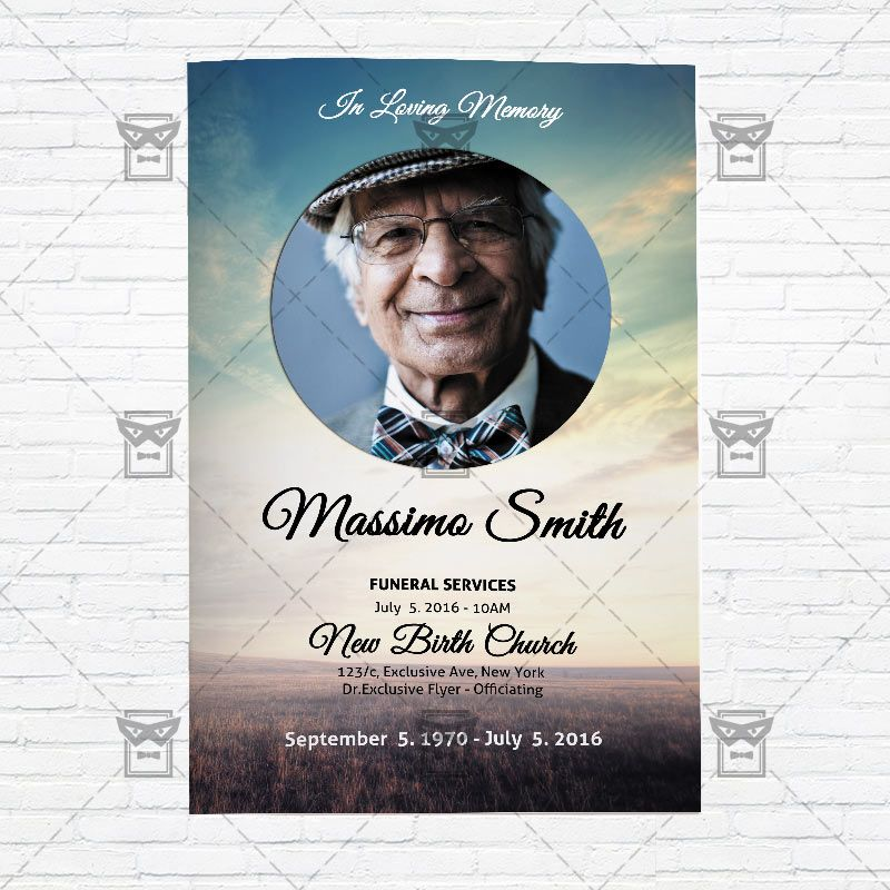 Funeral Program Vol  Premium Bi Fold Brochure Template Only